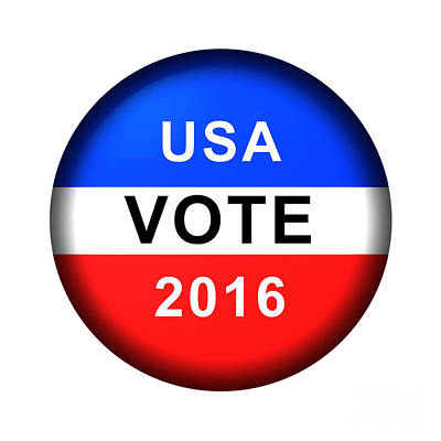 Digital Art - Vote Button 2016 by Henrik Lehnerer