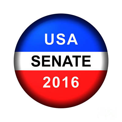 Digital Art - Vote Button Senate by Henrik Lehnerer