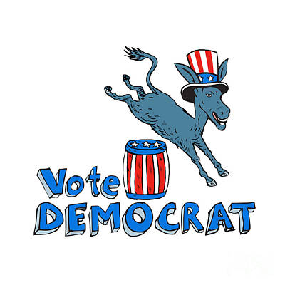 Vote Democrat Donkey Mascot Jumping Over Barrel Cartoon Art Print