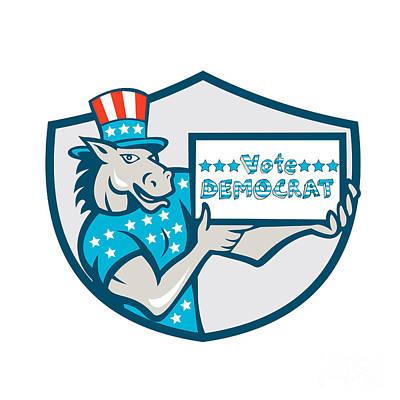 Donkey Digital Art - Vote Democrat Donkey Mascot Shield Cartoon by Aloysius Patrimonio