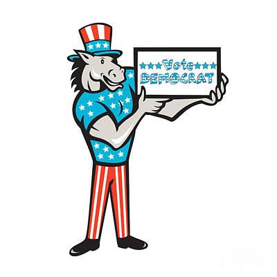 Donkey Digital Art - Vote Democrat Donkey Mascot Standing Cartoon by Aloysius Patrimonio