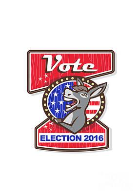 Donkey Digital Art - Vote Election 2016 Democrat Donkey Mascot Cartoon by Aloysius Patrimonio