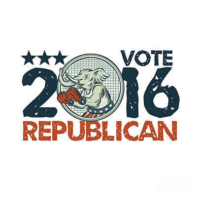 Digital Art - Vote Republican 2016 Elephant Boxer Circle Etching by Aloysius Patrimonio
