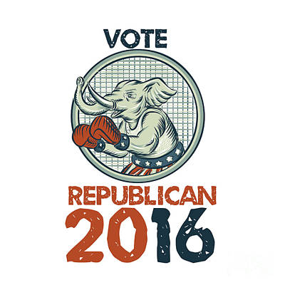 Digital Art - Vote Republican 2016 Elephant Boxer Etching by Aloysius Patrimonio