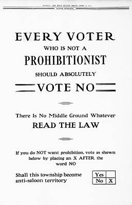 Ad Campaign Photograph - Vote To Keep Saloons Open 1916 by Daniel Hagerman