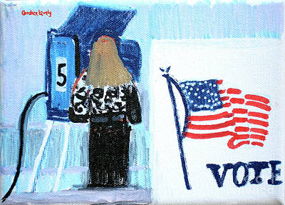 Joe Biden Wall Art - Painting - Voting Booth 2008 by Candace Lovely
