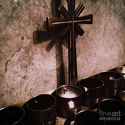 Frank J Casella Royalty-Free and Rights-Managed Images - Votive Candle With Cross by Frank J Casella