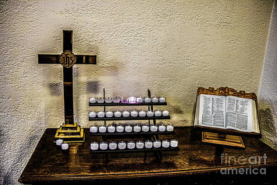 Photograph - Votive Table, Crucifix And Bible by Thomas Marchessault