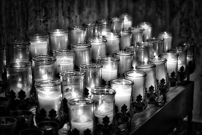 First Friday Photograph - Votives In Black And White by Rick Bravo