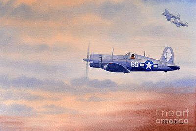 Us Army Fighters Painting - Vought F4u-1d Corsair Aircraft by Bill Holkham