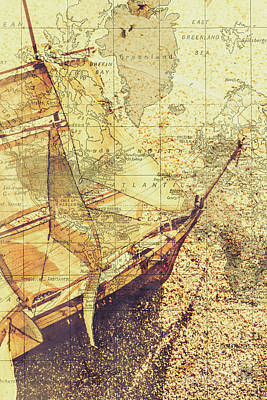 Vertical Abstract Photograph - Voyage Concept. Ship Floating On Map Background by Jorgo Photography - Wall Art Gallery