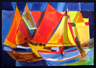 Painting - Voyage Of Boats by Therese AbouNader