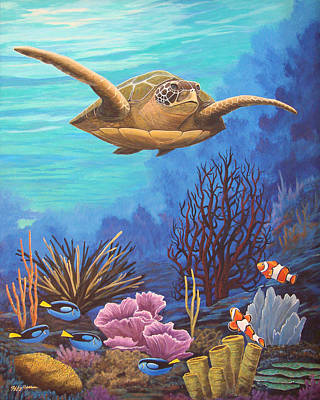 Green Sea Turtle Painting - Voyage Of The Honu by Jeffrey Oldham