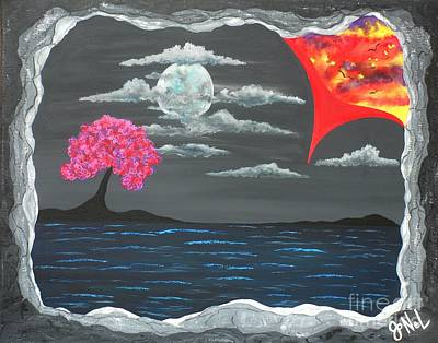 Abstract Seascape Mixed Media - Voyage Visions by JoNeL Art
