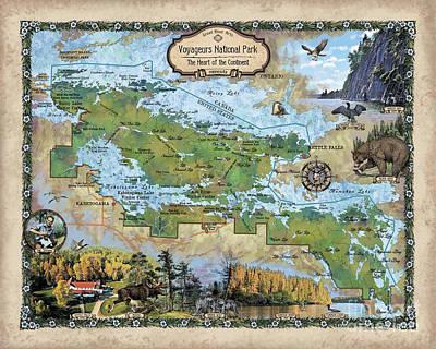 Painting - Voyageurs National Park, Voyageur, Voyageur, National Park, Voyageurs National Park, National Parks  by Lisa Middleton