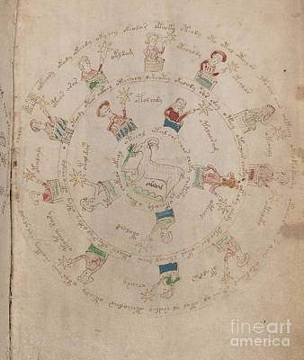Drawing - Voynich Manuscript Astro Aries by Rick Bures