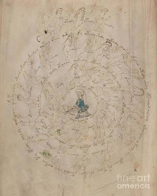 Drawing - Voynich Manuscript Astro Sagittarius by Rick Bures