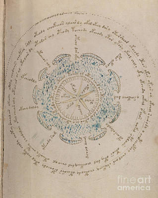Drawing - Voynich Manuscript Astro Star Central 1 by Rick Bures
