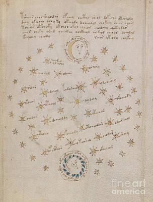 Drawing - Voynich Manuscript Astro Sun And Moon 1 by Rick Bures