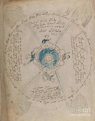 Drawing - Voynich Manuscript Astro Sun Central 1 by Rick Bures