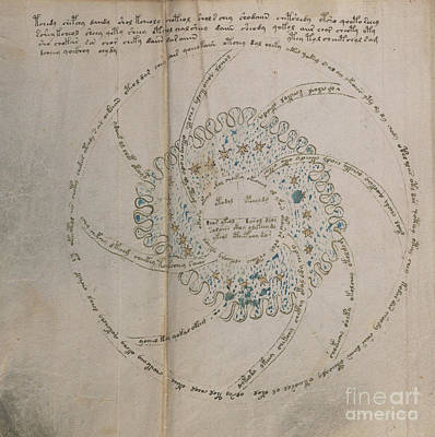 Drawing - Voynich Manuscript Astro Universe 1 by Rick Bures