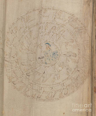 Drawing - Voynich Manuscript Astro Virgo by Rick Bures