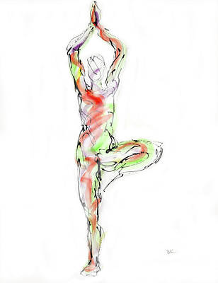 Stillness Drawing - Vrksasana by Boryana Korcheva