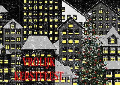 Berlin Night Painting - Vrolijk Kerstfeest 1 by Robert Todd