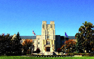 Painting - Vt Burruss Hall by DJ Fessenden