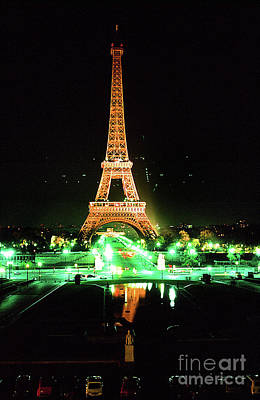 Photograph - Vue De La Tour Eiffel By Night Paris France  1978 by California Views Mr Pat Hathaway Archives