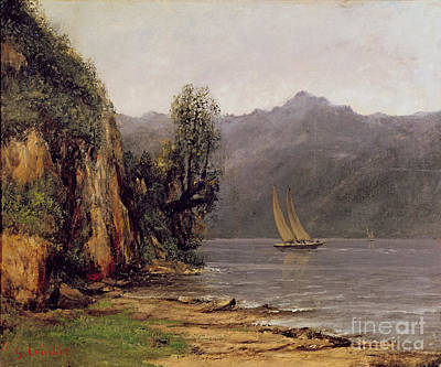 Reflecting Tree Painting - Vue Du Lac Leman by Gustave Courbet