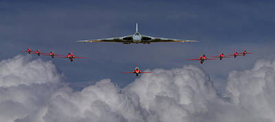 Photograph - Vulcan And Red Arrows Montage by Ken Brannen