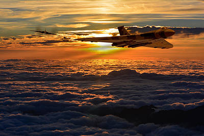 Photograph - Vulcan Bomber Sunset 2 by Ken Brannen