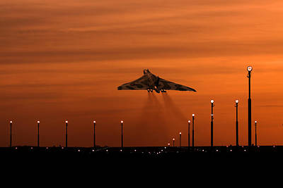 Photograph - Vulcan Bomber Sunset Take Off by Ken Brannen