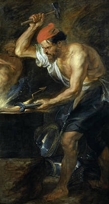The Forge Of Vulcan Painting - Vulcan Forging The Thunderbolts Of Jupiter by Peter Paul Rubens