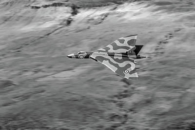 Photograph - Vulcan Low-level Against Hillside Bw Version by Gary Eason