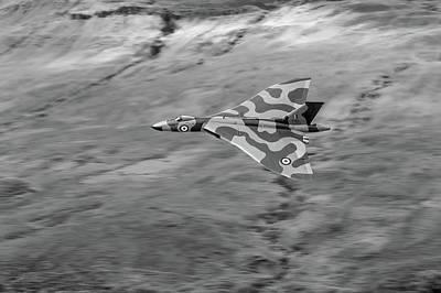 Photograph - Vulcan Low-level Against Hillside Bw Version by Gary Eason
