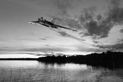 Digital Art - Vulcan Low Over A Sunset Lake Sunset Lake Bw by Gary Eason