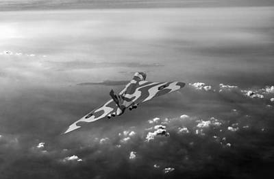 Photograph - Vulcan Over The Channel Xh558 Black And White Version by Gary Eason