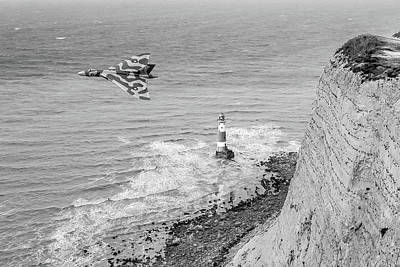 Photograph - Vulcan Passing Beachy Head Bw Version by Gary Eason
