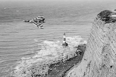 Photograph - Vulcan Passing Beachy Head Bw Version by Gary Eason