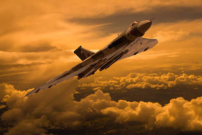 Photograph - Vulcan Xh558 Sunset Climb by Ken Brannen