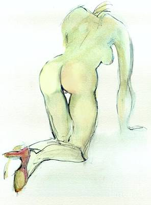 Painting - Vulnerable - Nude Female by Carolyn Weltman