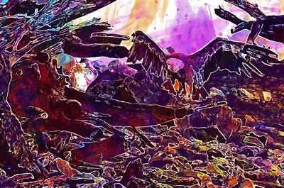 Griffon Digital Art - Vulture Griffon Vulture Scavengers  by PixBreak Art
