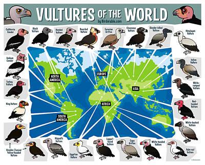 Condor Digital Art - Vultures Of The World By Birdorable by Arthur De Wolf