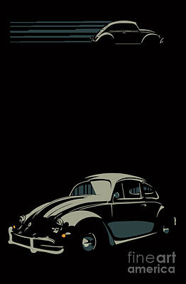 Digital Art - Vw Beatle by Sassan Filsoof