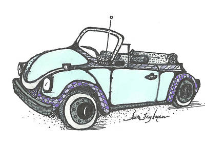 Vw Beetle Drawing - Vw Beetle, Blue Convertible by Faith Frykman