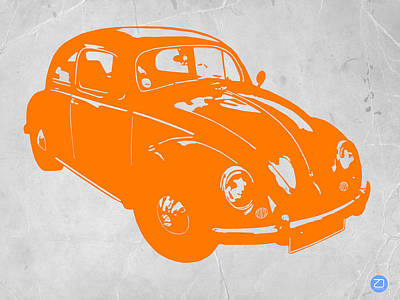 Old Paper Digital Art - Vw Beetle Orange by Naxart Studio