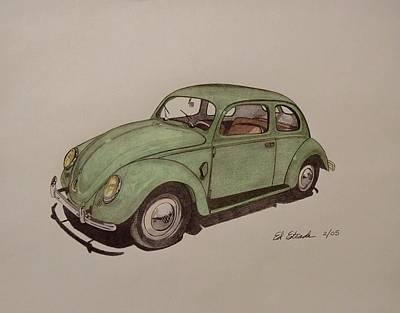 Vw Beetle Drawing - Vw Bug by Ed Estrada