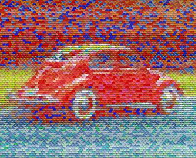 Art Print featuring the digital art Vw Bug Pez Mosaic by Paul Van Scott